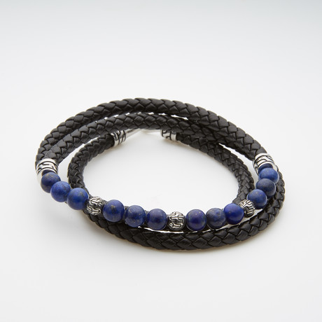 Black Wrap Leather Bracelet // Natural Lapis
