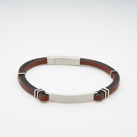 Dell Arte // Leather + Stainless Steel Bracelet // Brown + Silver