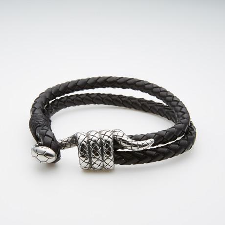 Lucky Snake Double Wrap Leather Bracelet
