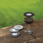 Drink Tops Ventilated Wine Glass Covers // Set Of 4 (Black + Gray)