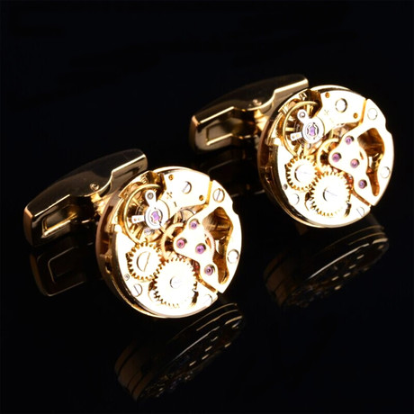Quartz Skeleton Watch Cufflinks // Goldtoned