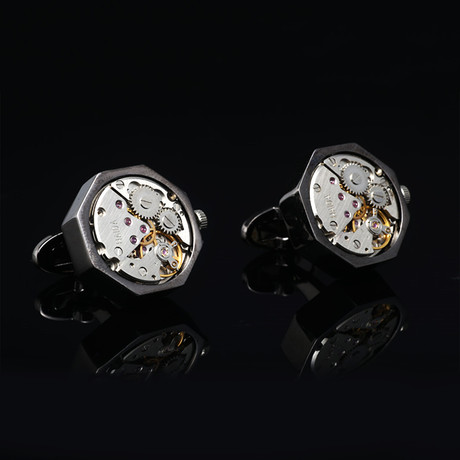 Quartz Watch Cufflinks // Gunmetal Bullet Back