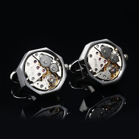Quartz Watch Cufflinks // Silvertoned