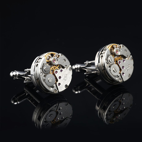Quartz Watch Cufflinks // Bare Silvertoned