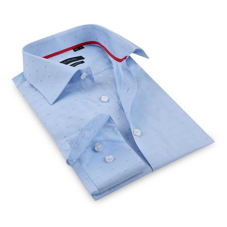Noah Solid Collar Tonal Plaid Button-Up // Blue (S)