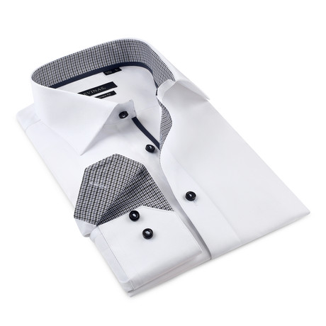 Button-Up Shirt // White + Black (S)