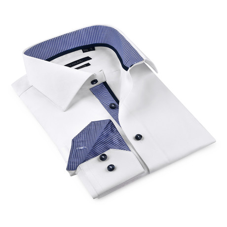 Button-Up Shirt // White + Dark Blue // J-199