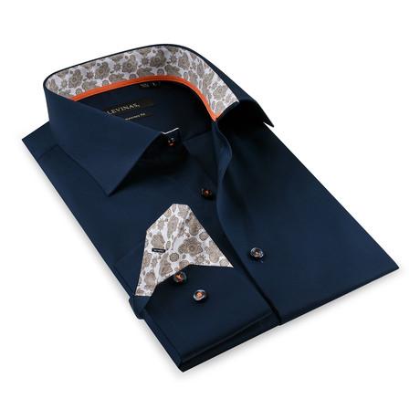 Button-Up Shirt // Navy + Beige (S)