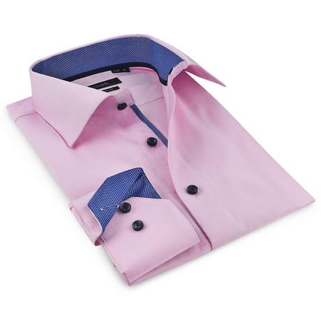 Button-Up Shirt // Pink + Navy (S)