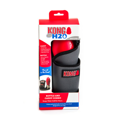 KONG Stainless Steel Water Bottle // Red + Grey Caddy
