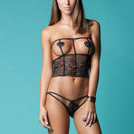 The Master Plan Open Cup Lace Bustier // Black