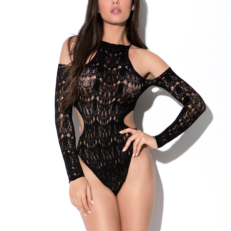 Lace Teddy + Cut Outs // Black