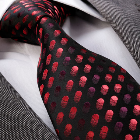 Dotted Silk Tie // Red + Black