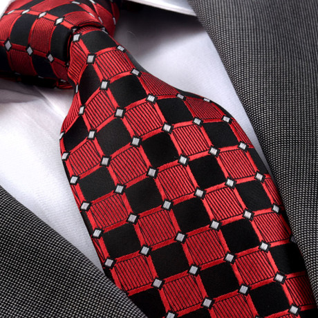 Freddie Silk Tie // Red + Black Squares