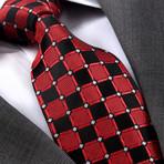 Freddie Silk Tie // Red + Black Squares