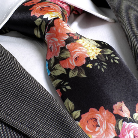 Aidin Silk Tie // Black + Flowers