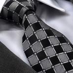 Sigmond Silk Tie // Gray + Black Squares