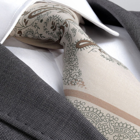Richmond Silk Tie // Cream Paisley