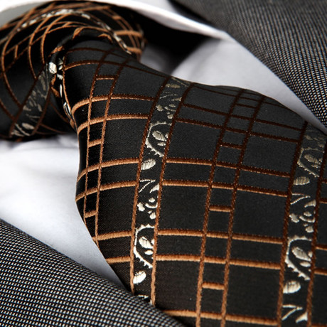Brando Silk Tie // Black + Brown Squares