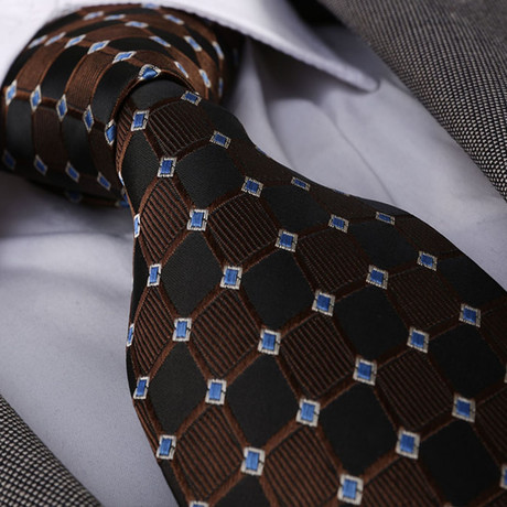 Ronaldo Silk Tie // Brown + Black
