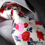 Tremellius Silk Tie // White + Pink + Red Roses