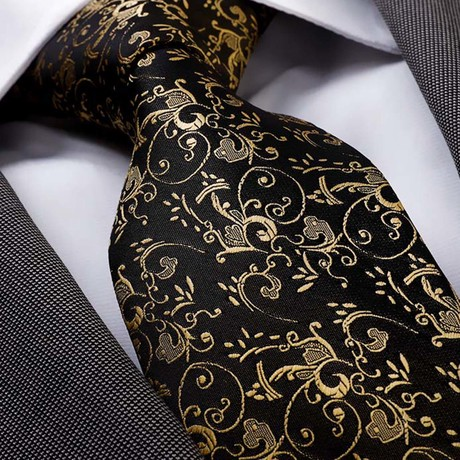 Dimitri Silk Tie // Black + Gold