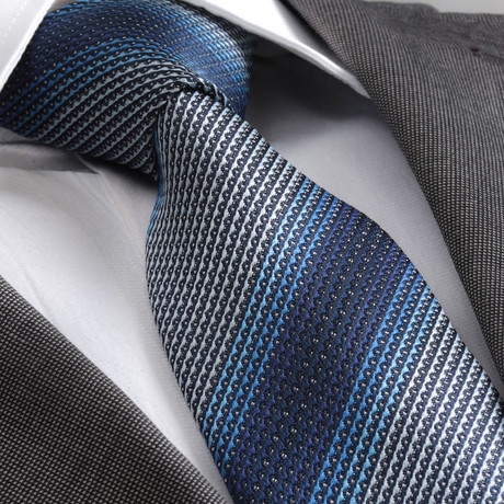 Three Shade Silk Tie // Blue