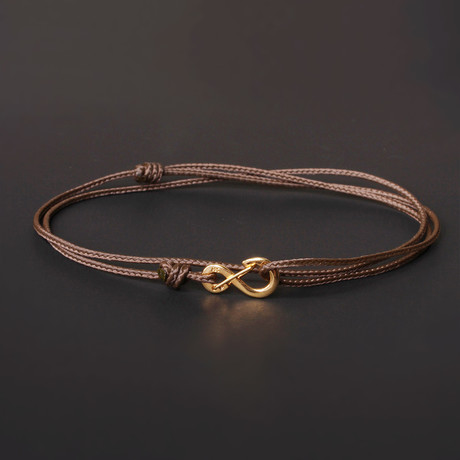 Infinity Cord Bracelet // Brown + Gold