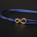 Infinity Cord Bracelet // Blue + Gold