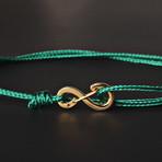 Infinity Cord Bracelet // Green + Gold