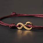 Infinity Cord Bracelet // Maroon + Gold