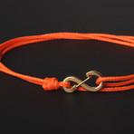 Infinity Cord Bracelet // Orange + Gold
