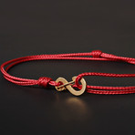 Infinity Cord Bracelet // Red + Gold