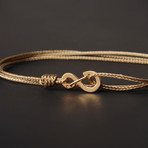 Infinity Cord Bracelet // Taupe + Gold