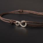 Infinity Cord Bracelet // Brown + Silver