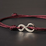 Infinity Cord Bracelet // Maroon + Silver