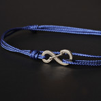 Infinity Cord Bracelet // Blue + Silver