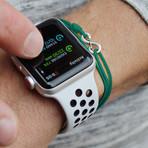 Infinity Cord Bracelet // Green + Silver
