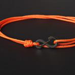 Infinity Cord Bracelet // Orange + Black