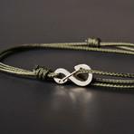 Infinity Cord Bracelet // Olive + Silver