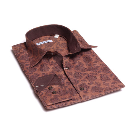 Paisley Reversible Cuff Button Down Shirt // Chocolate Brown (S)