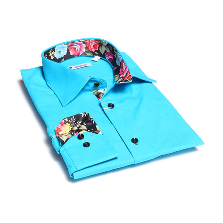 Floral Reversible Cuff Button Down Shirt // Turquoise + Blue (S)
