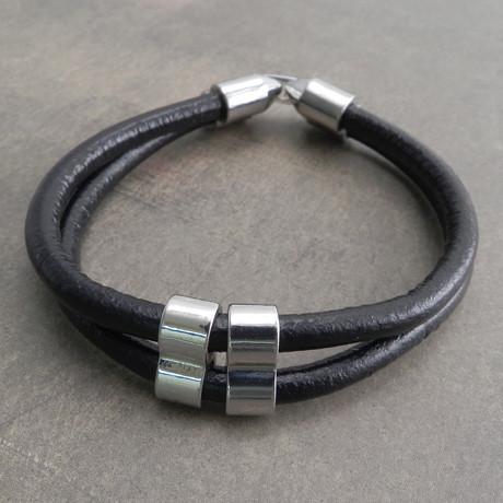 Double Wrap Leather Bracelet // Black
