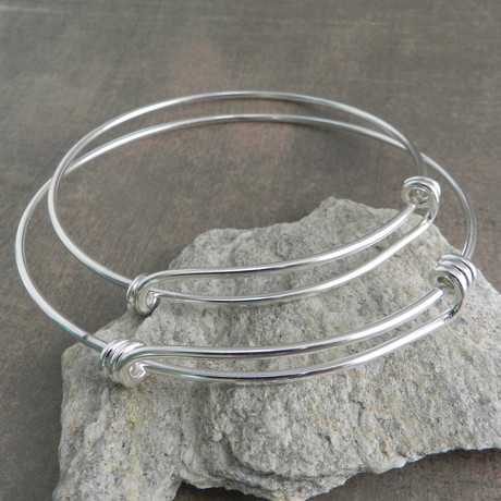 "Wire Wrap Adjustable Bracelet // Silver (7"" // Small)"