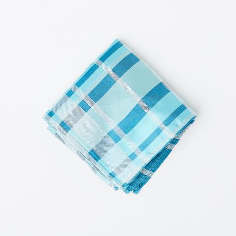 100% Silk Pocket Square // Multi-Colored Blue Plaid