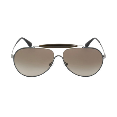Prada // Men's Metal Aviator Sunglasses // Gunmetal + Gray Green Gradient