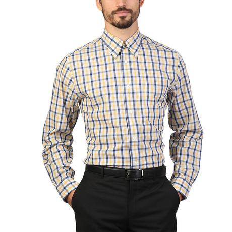 Adan Checkered Slim Fit Shirt // Yellow (S)