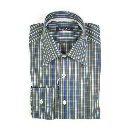 Canali // Plaid Regular Fit Shirt // Green (S)