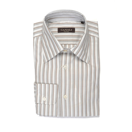 Canali // Striped Modern Fit Shirt // Brown + Gray (S)