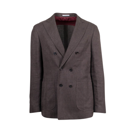 Wool Blend Double Breasted Sport Coat // Brown (Euro: 44)